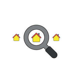 icon concept look for house with magnifying vector image