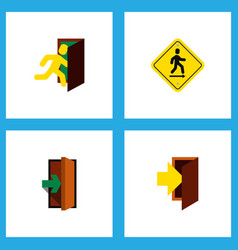 Icon flat emergency set of evacuation road sign vector