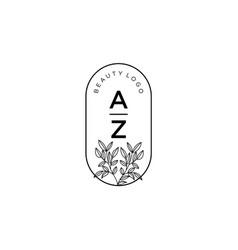 Initial az letters beautiful floral feminine vector