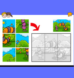 jigsaw puzzles with funny bug characters vector image