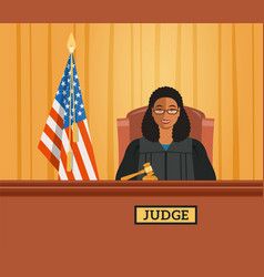 Judge black woman in courtroom flat vector