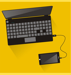 laptop connected to smartphone top view vector image