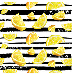 Lemon citrus seamless watercolor natural pattern vector
