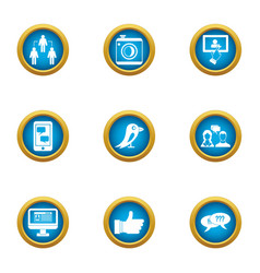 message exchange icons set flat style vector image