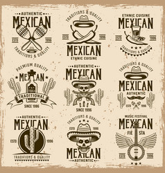 Mexican national attributes and authentic signs vector