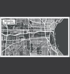 Milwaukee wisconsin usa city map in retro style vector