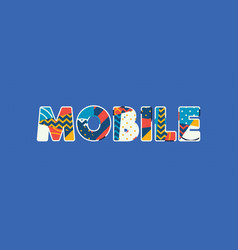 mobile concept word art vector image