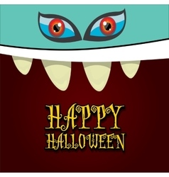 monster face halloween greeting card vector image