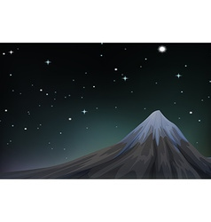 Night scene with mountain and stars vector