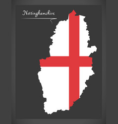 Nottinghamshire map england uk with english vector