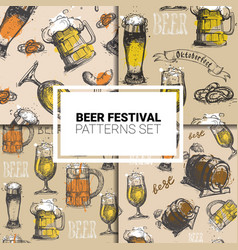 oktoberfest seamless pattern set german beer vector image