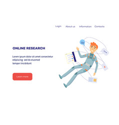 online research and development concept with man vector image
