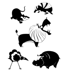 Original art animal silhouettes vector image