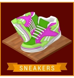Pair sneakers flat isometric icon vector image