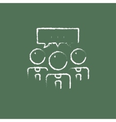 People with speech square icon drawn in chalk vector