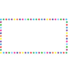 Rectangle frame made of rainbow animal paw prints vector