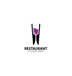 Restaurant logo design with glass and knives vector