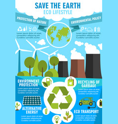 Save earth ecology poster for environment design vector