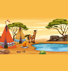 Scene with horse and teepee vector
