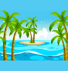 scene with trees on island vector image