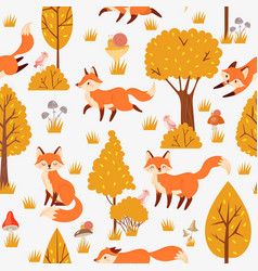 Seamless forest foxes pattern cute red fox among vector