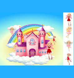 Set fairies in sky castle vector
