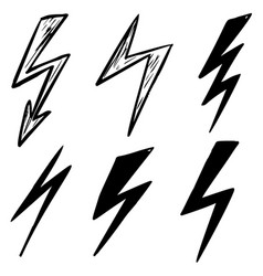 set hand drawn lightning icons design element vector image