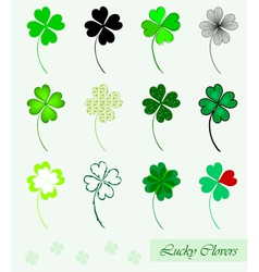 set of 12 lucky clovers vector image