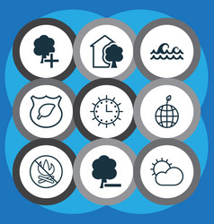 Set of 9 eco icons includes delete woods ocean vector