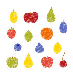 Set of grunge fruits isolated vector