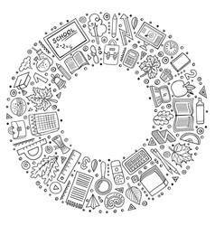 Set of school cartoon doodle objects symbols vector