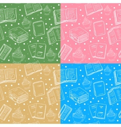 Set of seamless book and tea backgrounds vector