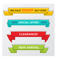 set of stylish bright sale ribbon with deal offer vector image