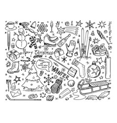 set winter or christmas icons drawings doodles vector image