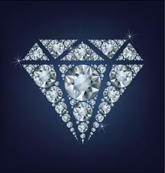 Shiny bright diamond symbol made a lot of diamonds vector image