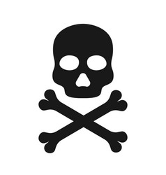 skull icon icon death black crossbones with vector image