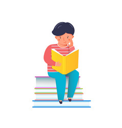 small boy reading interesting book studying vector image