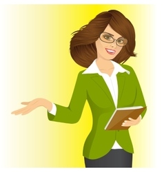 smiling business woman showing something vector image
