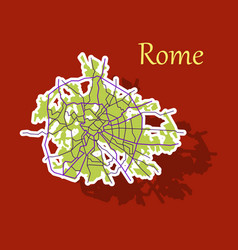 Sticker city map of rome with well organized vector