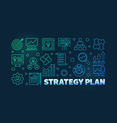 strategy plan colorful banner on dark vector image