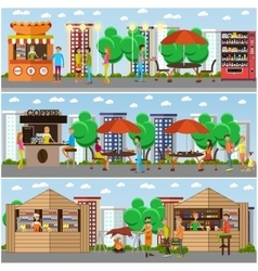 Street food festival concept banner People vector image