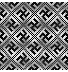 Traditional Baltic knitting pattern with Swastika vector