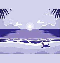 Tropical beach with dog mascot vector