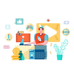 Video game blogger young vlogger youtube icons vector