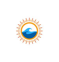 wave sun logo icon design vector image