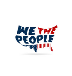 We the people constitution word in usa map vector