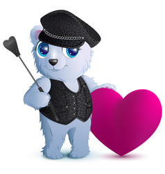 White bear in black leather clothes in style of vector