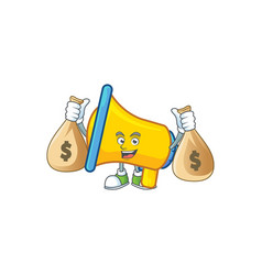 With money bag yellow loudspeaker cartoon vector