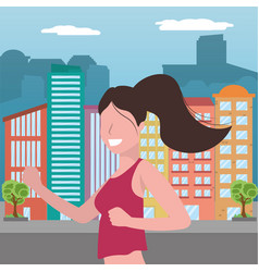 woman running portrait vector image