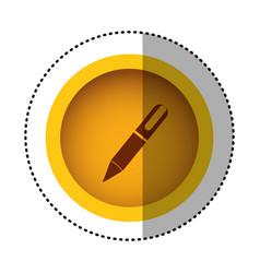 yellow round symbol metal classic pen icon vector image
